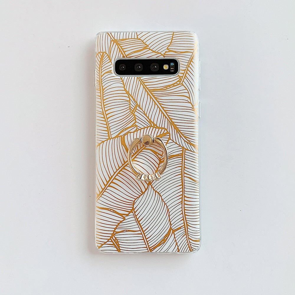 Gold Leaves Integrated Ring Holder Samsung Case
