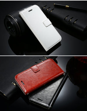 Leather Flip Wallet iPhone Case