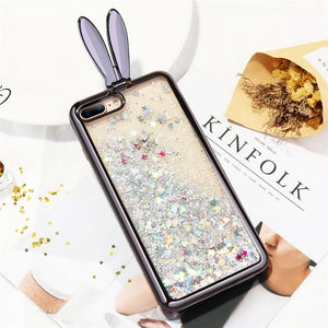 Liquid Glitter Bunny Ears iPhone Case