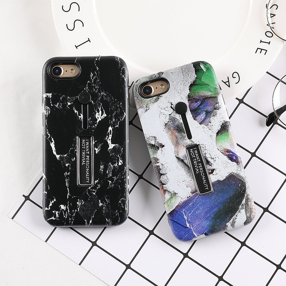 Marble Integrated Ring Holder iPhone Case