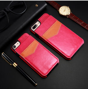Leather Flip Wallet Case For iPhone