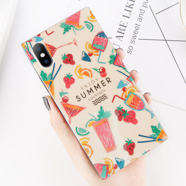 Rectangular Summer Cocktails Print iPhone Case