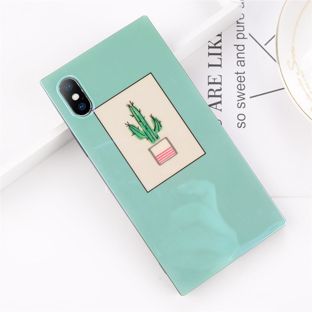Rectangular Cactus Print iPhone Case