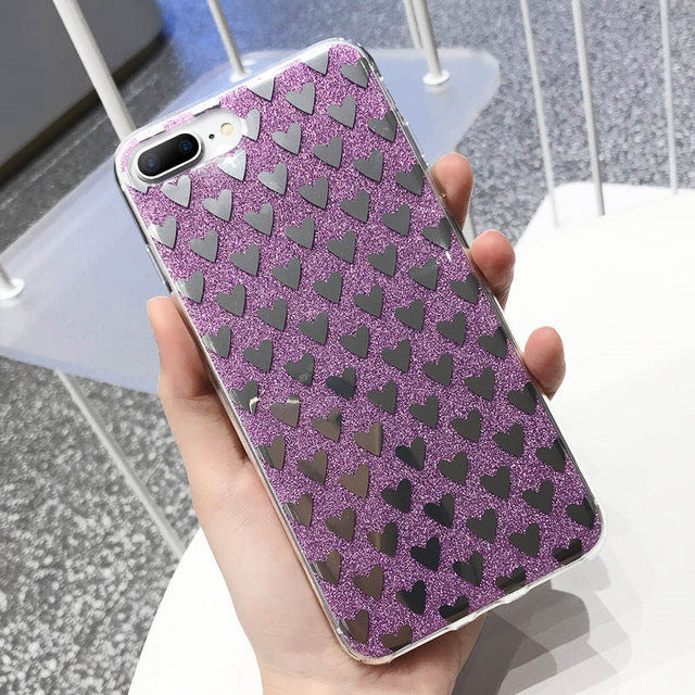 Glossy Glitter Hearts Pattern iPhone Case