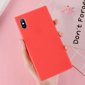 Candy Color Rectangular Silicone iPhone Case