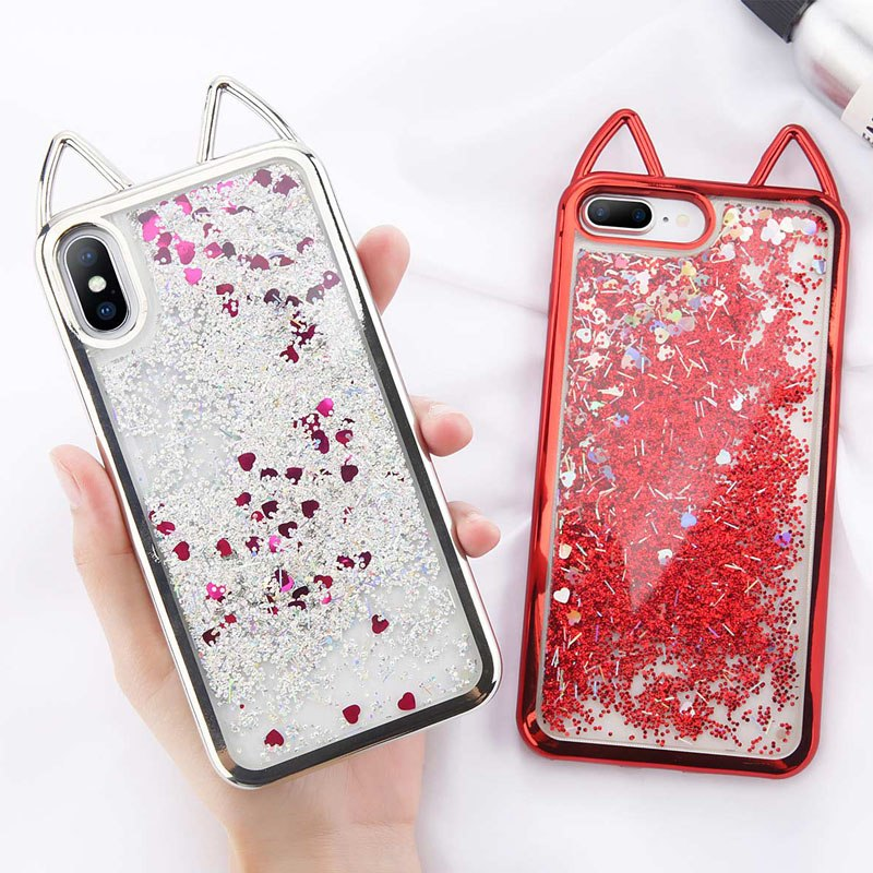 Glitter Hearts Powder iPhone Case