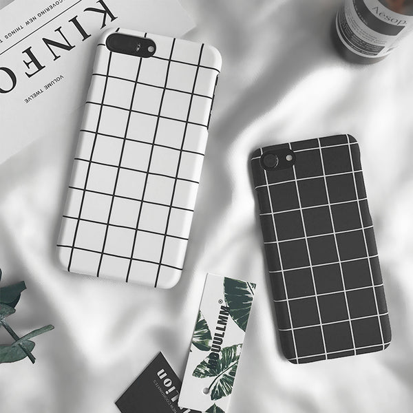 B&W Grid Patterned iPhone Case
