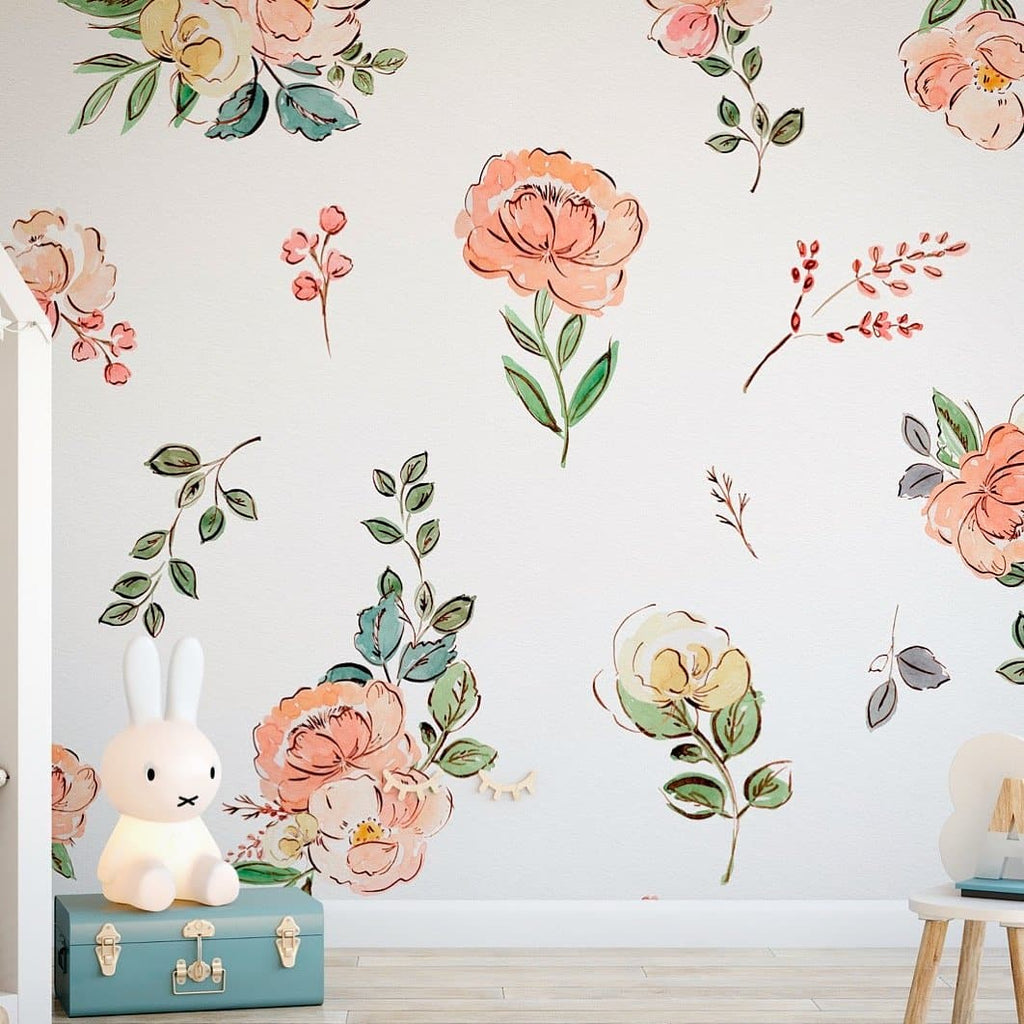 The Cosette - Floral Wallpaper - WALL BLUSH