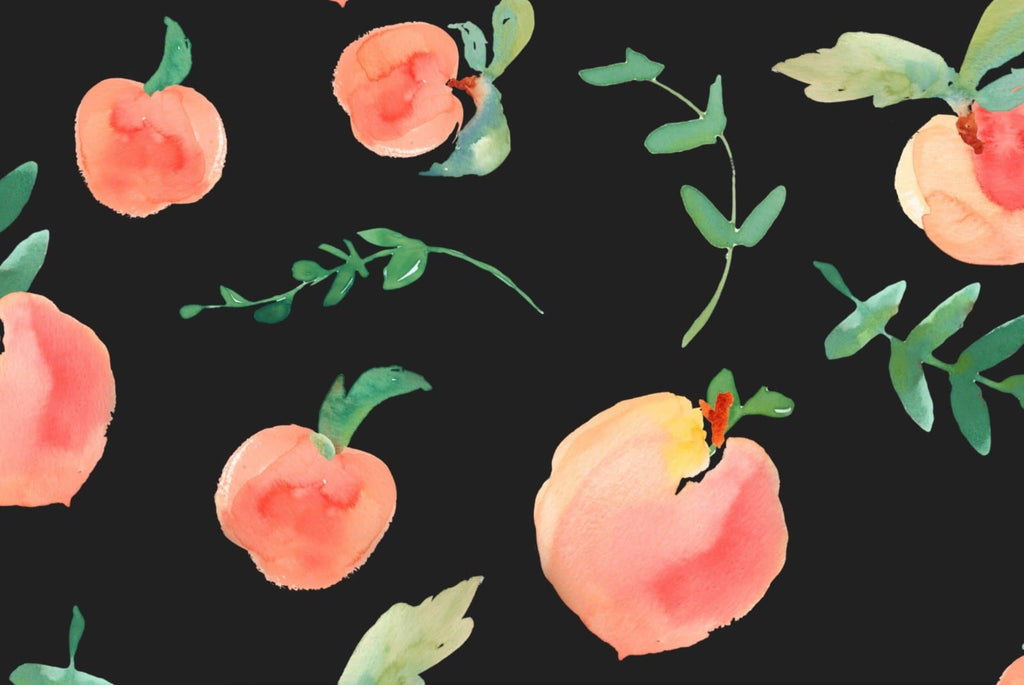 Peachy Clean -Black Edition Fruit Wallpaper - WALL BLUSH