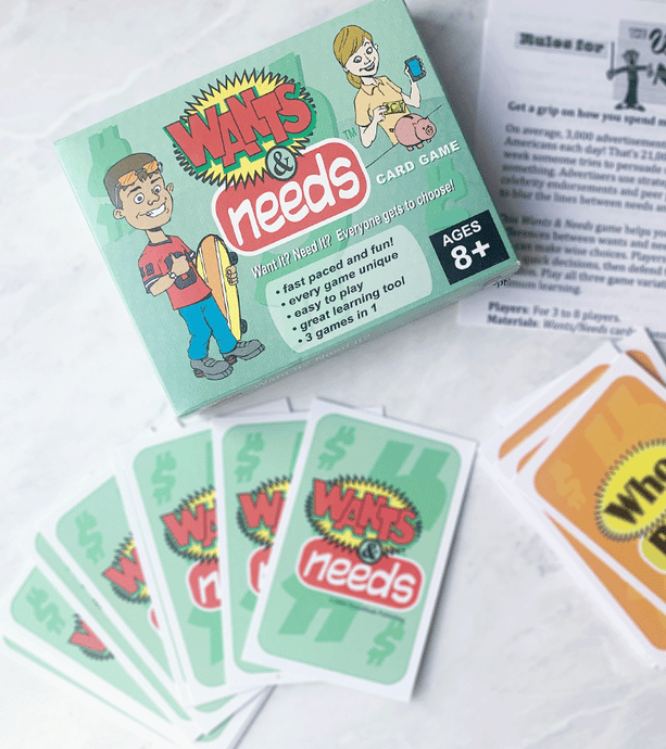 A fun and inviting family-friendly game about money. Help your child learn what they NEED vs what they WANT, and have a little fun!