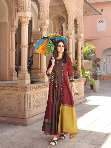 Cotton & Chiffon Blend Layered kurti