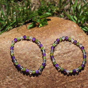 Amethyst, Peridot, and Clear Quartz Bracelet