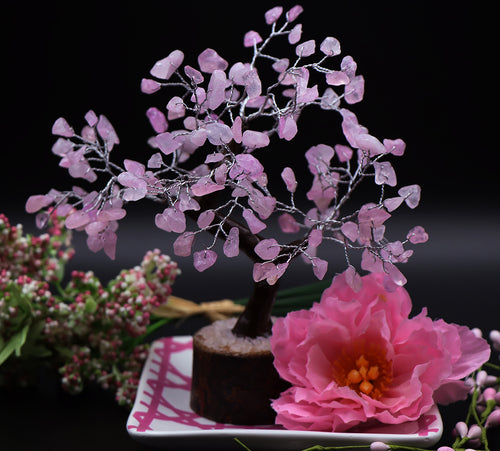 160 Piece Rose Quartz Tree