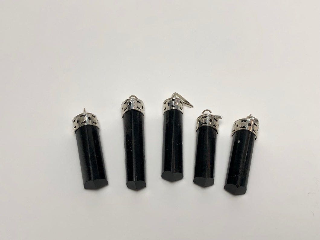 Black Tourmaline Column Pedant