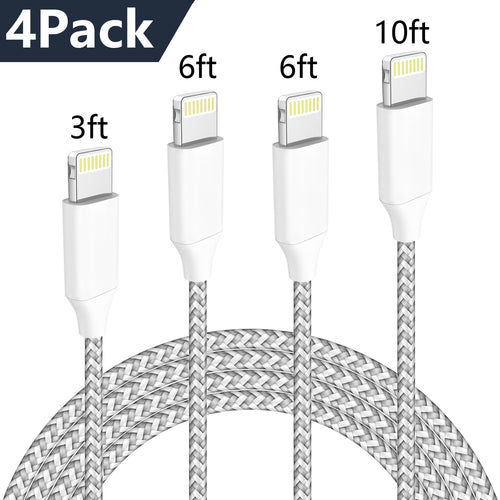 MFi Certified Phone Charger Cable,WUXIAN【4PACK 3FT/3FT/6FT/6FT/10FT】 Extra Long Metal Joint Nylon Braided Fast Charging Compatible with iPhone XS/MAX/XR/X/8/8/Plus/7/7 plus/6s/ 6s Plus-Silver and Gray