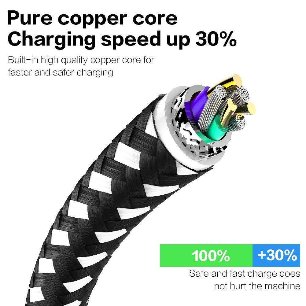 WUXIAN MFi Certified Phone Charger Cable【5Pack 3FT//3FT//6FT//6FT//10FT】 Extra Long Nylon Braided Fast Charging/& Syncing Cord Compatible with iPhone XS//MAX//XR//X//8//8//Plus//7//7 plus//6s// 6s Plus-Black/&White