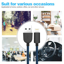 Load image into Gallery viewer, MFi Certified Phone Charger Cable 5-Pack【 3FT/3FT/6FT/6FT/10FT】 Extra Long Nylon Braided Fast Charging& Syncing Cord Compatible with iPhone XS/MAX/XR/X/8/8/Plus/7/7 plus/6s/ 6s Plus-Black and Blue