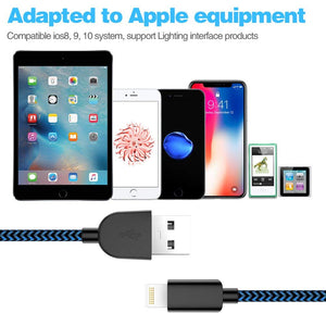 MFi Certified Phone Charger Cable 5-Pack【 3FT/3FT/6FT/6FT/10FT】 Extra Long Nylon Braided Fast Charging& Syncing Cord Compatible with iPhone XS/MAX/XR/X/8/8/Plus/7/7 plus/6s/ 6s Plus-Black and Blue