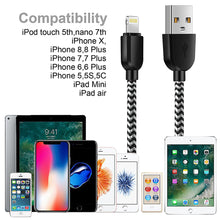 Load image into Gallery viewer, MFi Certified - Phone Charger Cable【5Pack 3FT/3FT/6FT/6FT/10FT】 Extra Long Nylon Braided Fast Charging& Syncing Cord Compatible with iPhone XS/MAX/XR/X/8/8/Plus/7/7 plus/6s/ 6s Plus