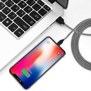 MFi Certified - Phone Charger Cable【5Pack 3FT/3FT/6FT/6FT/10FT】 Extra Long Nylon Braided Fast Charging& Syncing Cord Compatible with iPhone XS/MAX/XR/X/8/8/Plus/7/7 plus/6s/ 6s Plus