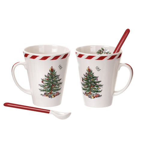 Spode Christmas Tree Peppermint Mugs with Spoons - Set of 2