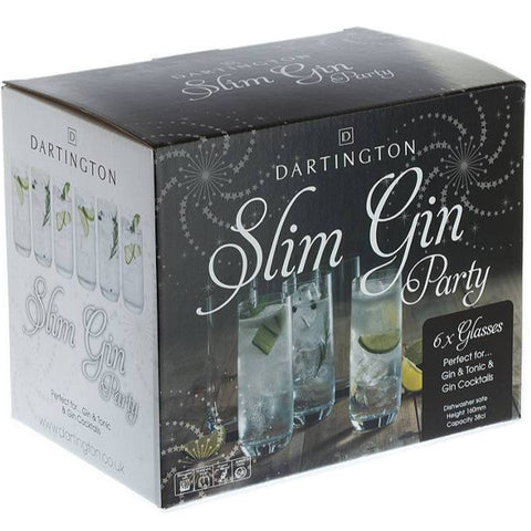 Dartington Crystal Slim Gin Glasses Party Pack ( Box Set of 6 )