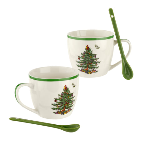 Spode Christmas Tree Mugs with Ceramic Spoons - Set of 2