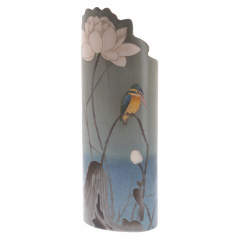 John Beswick Silhouette d'art Vase - Koson Kingfisher with Lotus Flower