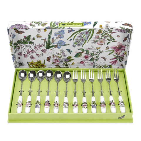 Botanic Garden - Pastry Forks and Tea Spoons ( Box set of 12 )
