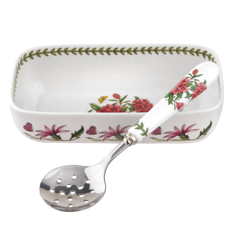 Botanic Garden Cranberry / Sauce Dish with Slotted Spoon