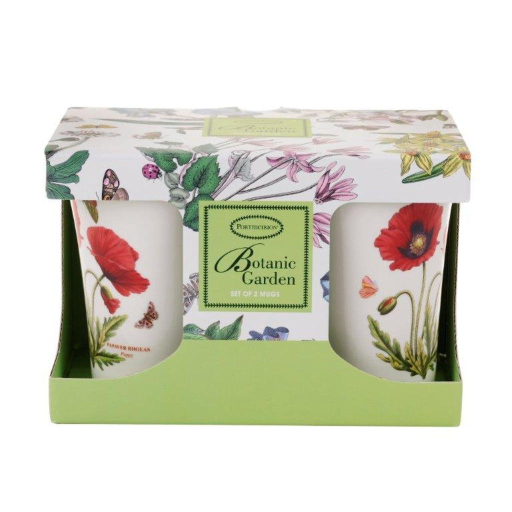 "Botanic Garden -  Mug  ( ""M"" Mandarin Shape )  Poppy - Gift Box Set of 2"
