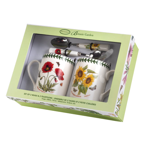 Botanic Garden Poppy & Sunflower Mug & Spoon Gift Set