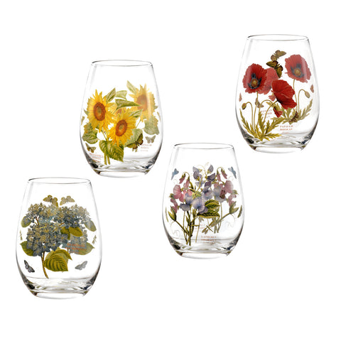 Botanic Garden Stemless Wine Glass - Assorted Boxed Set of 4