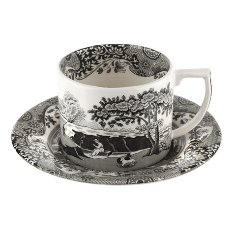 Spode Black Italian Tea Cup & Saucer with Spoons Set of 2