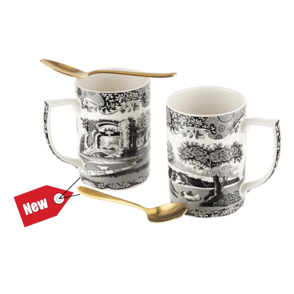 COMING SOON Spode Black Italian Mugs with Spoons Set of 2