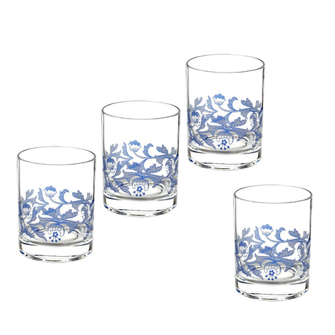 Spode Blue Italian Double Old Fashioned Glass - Gift Box Set of 4