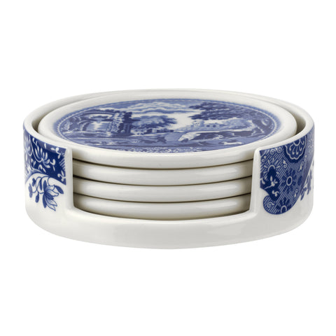 Spode Blue Italian Ceramic Coasters with Holder