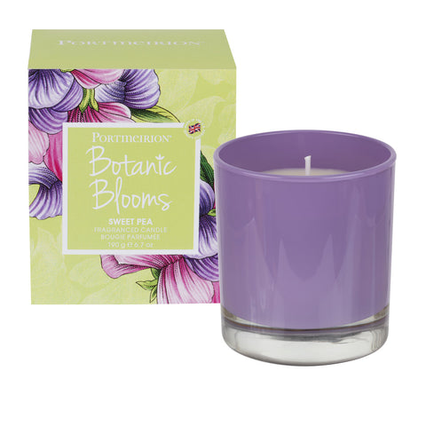 Botanic Blooms Wax Filled Glass Candle - Sweet Pea