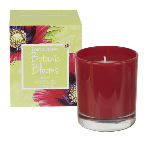 Botanic Blooms Wax Filled Glass Candle - Poppy