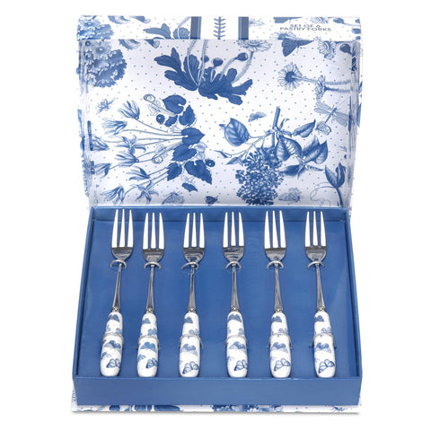 Botanic Blue Pastry Forks  ( Box Set of 6 )