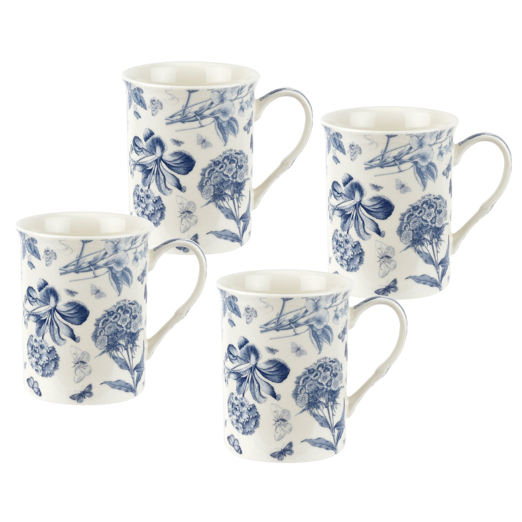 Botanic Blue Gift Boxed Set of 4 Mugs