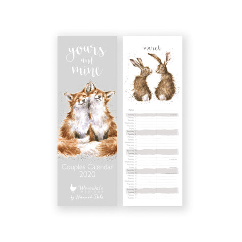 Wrendale Yours and Mine Couples Slim Calendar 2020