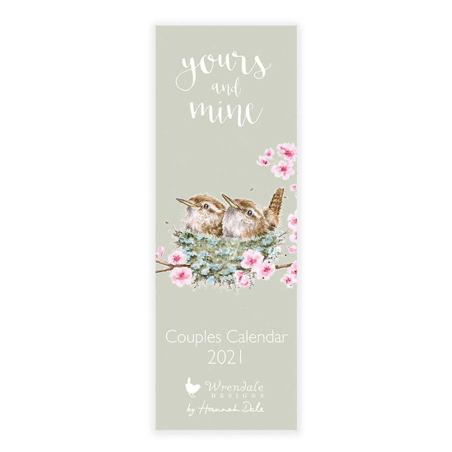 Wrendale Yours and Mine Couples Slim Calendar 2021