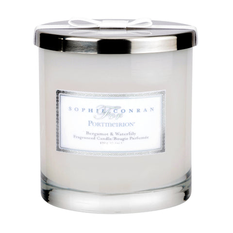 Sophie Conran 2 Wick Wax Filled Glass with Silver Lid - Bergamot & Water Lily