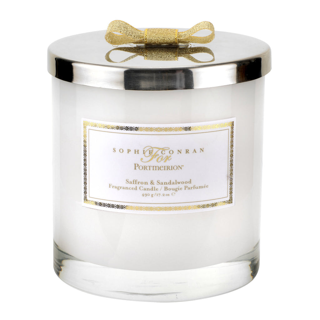 Sophie Conran 2 Wick Wax Filled Glass with Silver Lid - Saffron & Sandalwood