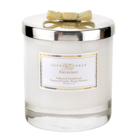 Sophie Conran Wax Filled Glass with Silver Lid & Gold Ribbon - Saffron & Sandalwood