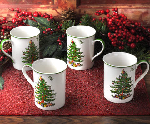 Spode Christmas Tree Gift Box Set of 4 Mugs