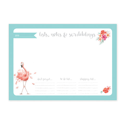 Wrendale A4 Desk Pad - Flamingo