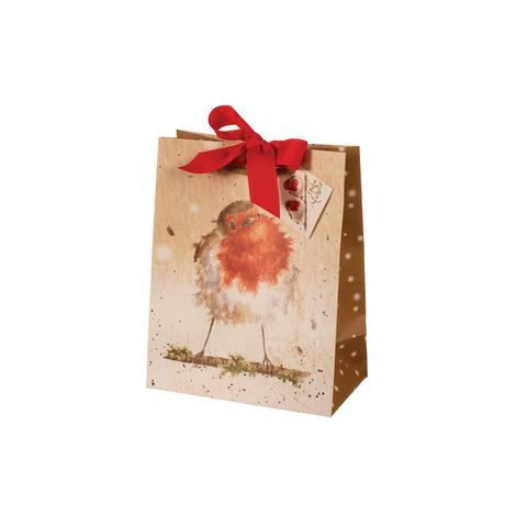 Wrendale Small Christmas Gift Bag - Robin with Gold border