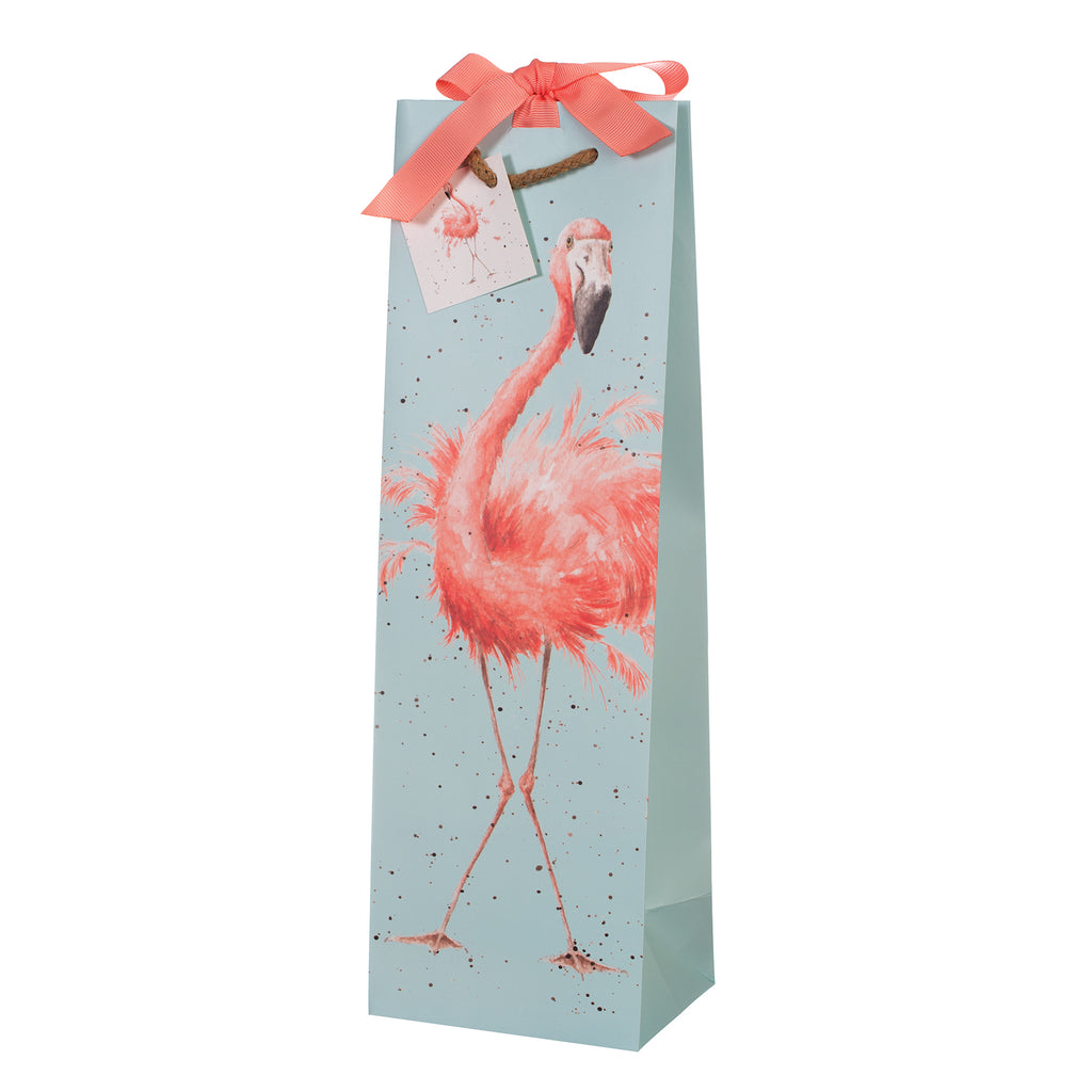 Wrendale Bottle Gift Bag - Flamingo